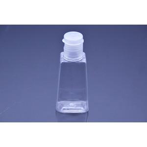 30ml mão vazia higienizador Garrafa de PET de plástico com tampa de garrafa de forma trapezoidal aleta para a composição desinfectante líquido removedor