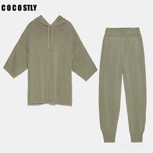 2020 Women Tracksuit Knit 2 Piece Set Casual Loose Hooded Pullover Sportswear Tops+Elastic Knitted Set Female Sweater Trouser