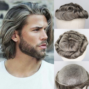Cabello humano gris mezclado Toupee para hombre peluca Brasileño Remy Sistema de reemplazo de pelo humano PU 8x10 Toupee de los hombres