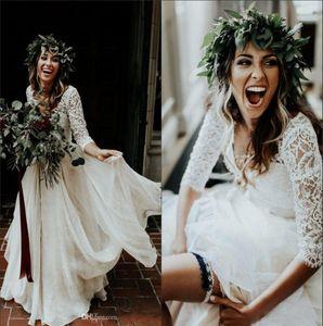 2020 Praia Boho vestidos de casamento mangas compridas A Chiffon linha branca do laço do marfim Princesa Plus Size vestido de noiva Two Pieces Vestidos de casamento BA9943