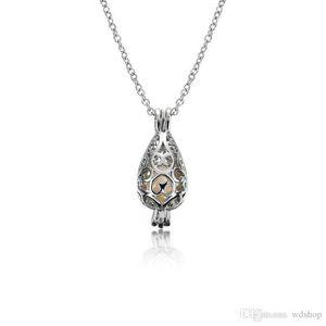 Cage naturelle perle d'eau douce collier pendentif en argent 925 sterling plaqué Pendentif Goutte en forme avec des bijoux perles perles Oyster pour les femmes