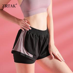 Zrtak malha costura Yoga Shorts respirável Sweat-absorvente Correndo Academia Shorts Qualidade Quick Dry Curto Sports aptidão das mulheres