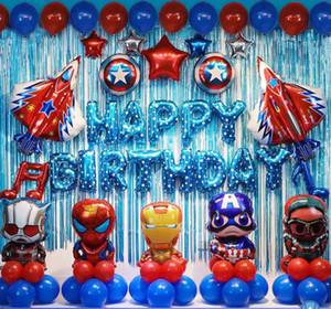 Super-héros joyeux anniversaire Set de ballon Spider-Man Iron Man Captain America Helium Lettre ballon Aluminium Feuille ballon Joyeux anniversaire