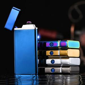 USB зажигалка Led Электронная сигарета зажигалка Двойной Огонь Крест Твин Arc Pulse Электрический зажигалка портативный ветрозащитный металла Зажигалки GGA3077-4