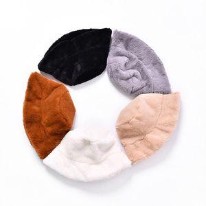 Pescador señora sombrero del otoño y del invierno de la felpa de la Cuenca del sombrero monocromático Flat Top amplio alero de ocio de moda gruesa de piel caliente del sombrero