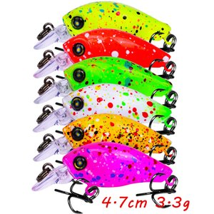 1pc 6 Color Mixed 4.7cm 3.3g Crank Hard Baits & Lures 12# Hook Fishing Hooks Fishhooks Pesca Fishing Tackle Accessories B-070