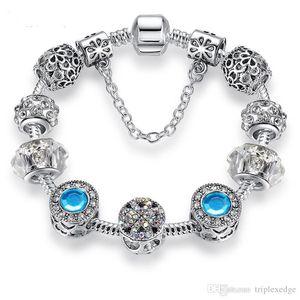 prata retro Europeia cristal banhados trevo charme pulseira feminina DIY Pandora boutique frisado presente da jóia pulseira
