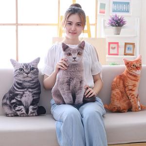Babiqu 1pc 50cm 시뮬레이션 고양이 베개 소프트 박제 동물 쿠션 소파 장식 만화 플러시 완구 어린이를위한 선물 Q190521