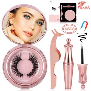 New Magnetic Liquid Eyeliner Magnetic False Eyelashes 5 magnets eyelash Tweezer makeup mirror Reusable Waterproof 3D lashes No Glue Needed