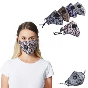 Leopard Face Masks Protective Anti Dust Outdoor Cyling Mask Breathable Valve Anti Fog Washable Mask DDA121