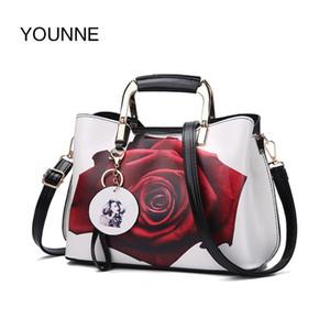 YOUNNE Frauen Handtasche Mode-Art-Female Painted Schultertasche Blumen-Muster Kuriertaschen Leder-beiläufige Tote Abendtasche