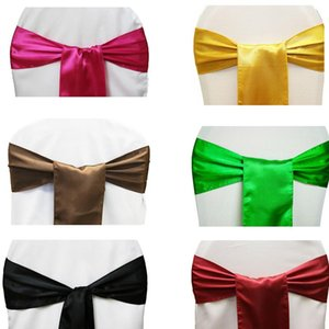 Cheap 25pcs lot 15*275cm Satin Bow Tie Chair Sash Band Red Black Pink Multi Color For Hotel Banquet Wedding Party Decoration