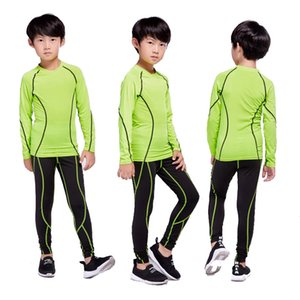 Children's Sportswear Sports Suit Compression Warm Base Layer Running Long-Sleeved T-shirt + Thermal Pants 2 piece Tracksuit Boy