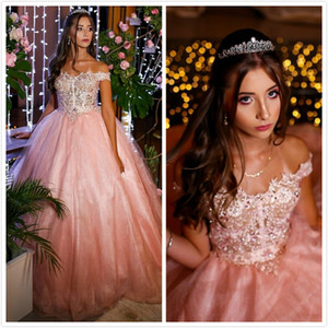 Pink Lace Beaded Sexy Quinceanera Prom Dresses Sheer Neck Vintage Tulle Evening Party Sweet 16 Dress ZJ15