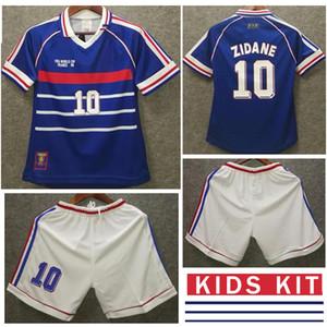 프랑스 키트 키트 1998 월드컵 # 10 Zidane # 12 헨리 소년 레트로 축구 유니폼 홈 축구 유니폼 98 키트 클래식 축구 셔츠