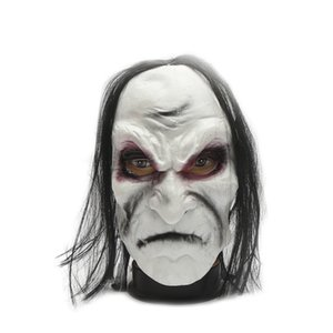 Angry Witch Long Hair Hedging Realistic Masquerade Halloween Mask Cosplay Dressing Props