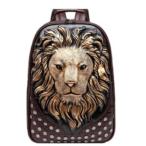 Famous Designer MCO 3D Embossed Lion Head Studded Rivet Gother Men Backpack Women PU Leather Soft Travel Backpacks Laptop School Hallow Qntm