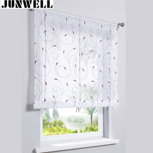 Embroidery Roman Curtain Polyester Voile Ribbon Controller Blind Home Wave European Living Room Balcony Voile 1PC