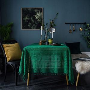 Tabla vendimia verde oscuro clásico Paños de punto hueco Manteles elegante Festival Mantel alta calidad vendedora caliente
