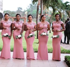 Vestido de festa longo Illusion africano della sirena del collo rosa Bridemaid abiti da 2019 Pizzo Abiti da sposa Appliqued partito convenzionale Invitato a un matrimonio
