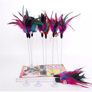 Suction cup spring Bell feathers Pet tease cat and stick Color interactive teasing cat toys Fishes deity to amuse the cat pole