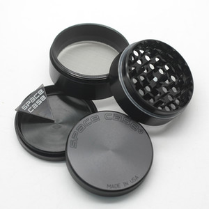 Space Case Grinders Herb Grinder 55mm 63mm 4 Piece Tobacco Grinders With Triangle Scraper Aluminium Alloy Material CNC Cigarette Grinding
