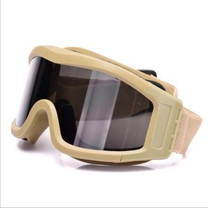 Desert Windproof Anti UV Anti Sand Goggles Outdoor Riding Hiking Skiing Tactical Paintball Shooting Glasses With 3 Pcs PC Lens