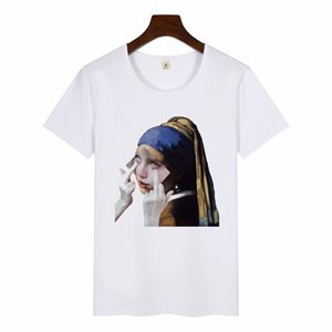 Girl with A Pearl Earring Oil Painting Tshirt Women Funny Printed Short Sleeve Streetwear T-shirts Fashion Casual White Tops Tee