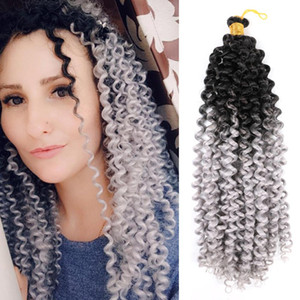 "Mtmei 14"" 24 Roots Afro Kinky Curly Hair Bundles With Closure Water Wave Bundles Crochet Hair Extensions Synthetic Hair"