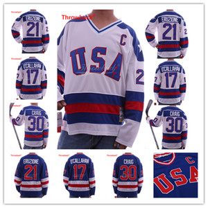 1980 Miracle on Ice Team USA 30 Jim Craig Jersey 17 Jack O'Callahan 21 Mike Eruzione Blue Bianco Maglie da hockey cucite bianche