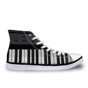 Sur mesure HOT Hommes High Top vulcanisée Chaussons Chaussures Piano Guitare Prints Hommes Chaussures en toile Casual Baskets mode Homme noir vendredi Cadeaux