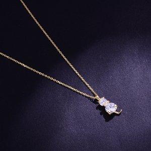 Hongye Mignon Chat Zircon Pendentif Colliers Argent / Or Couleur Femmes Collier Bijoux En Argent Sterling Cou Chaîne Beauté Cou Accessoire