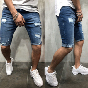 Jeans rectos cortos ocasionales delgado pantalones de los hombres flacos rasgados pantalones cortos de mezclilla Pantalones