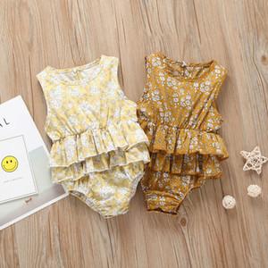 소녀 꽃 투투 장난 꾸러기 여름 꽃 인쇄 된 O-목 민소매 장난 꾸러기 아기 유아 소녀 레저 의류 여자 의류 1-2T 5 색면