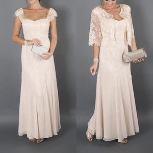 Plus size 2020 Elegant Mother of the Bride Dresses with Jacket Lace Chiffon mother of the Bride Dresses for Weddings