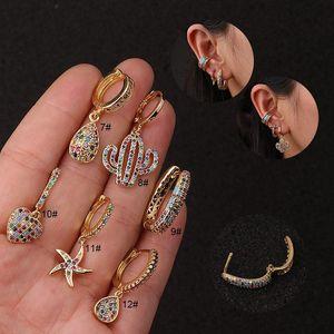 Unisex Fashion Men Women Earrings Yellow Gold Plated Colorful CZ Charm Earrings For Men Women Nice Gift