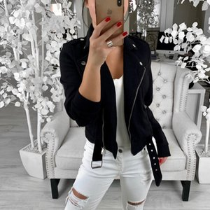 Designer Inclined Zipper Womens Jacket Fashion Solid With Belt And Button Coats Donna Casual Spring Clothes