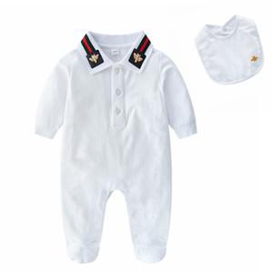 Primavera Autunno Neonato Neonati maschi Vestiti neonato Toddler Baby Pagliaccetto Tute Maniche lunghe in cotone con bavaglini