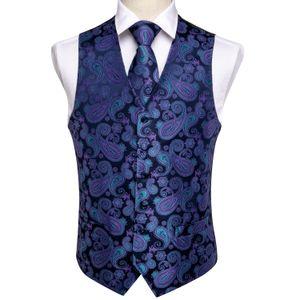 Fast Púrpura clásica azul de Paisley seda Jacquard chaleco partido Gemelos Pañuelo los hombres del envío lazo de la boda juego del chaleco Set MJ-0104