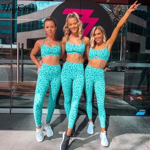 Imprimir Stretchy Camis Leggins 2 Dois Peças Definir Outono Mulheres Casual Sprotswear Slim Yoga Tracksuit