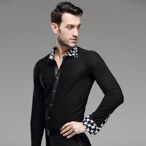 New Mens Dance Shirt Print Collar Standard Competition Performance Ballroom Modern Salsa Tango Samba Male Latin Tops Dancewear