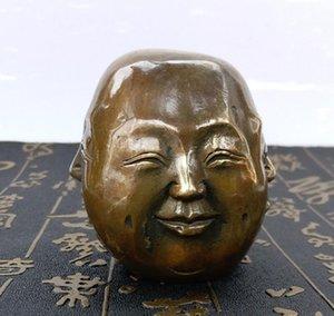 Fornecimento profissional de Artesanato de Bronze Artesanato Pequeno Quatro-enfrentou Caráter de Metal Decoração Personagem Escultura