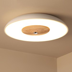 Iluminação nórdica criativo disco voador rodada pequena sala de estar lâmpada da lâmpada das crianças quarto de madeira maciça estudo led quarto lâmpada do teto