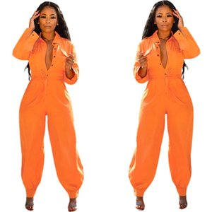Women Jumpsuits Loose Runway Street Wear Casual Orange Stretchy Lapel Collar Single Breasted Long Sleeve Harem Overalls Jumpsuit