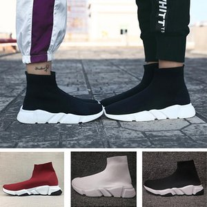 2019 Balenciaga Sock shoes Luxury Brand ACE calcetín ocasional Zapatos Speed ​​Trainer Negro Rojo Negro Triple los calcetines zapatos casuales zapatilla de deporte 36-45