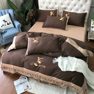 Brown Letter Style Bed Cover Suit L Letter Spring And Autumn Bedding New Flower Gold Thread Bedding Sets
