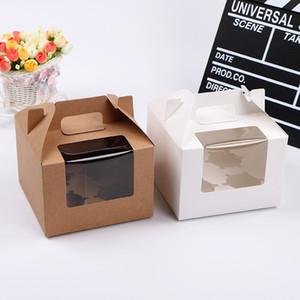 Kreative vier Cavity Baking Cupcake Boxen mit klarem Fenster Braun Weiß Tragbarer Griff Pudding Muffin Cup Holder Wrapper