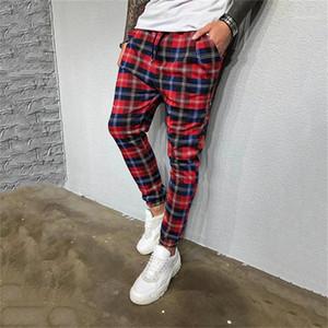 Bleistift-Hosen-beiläufige Street Style Mens Jogger Hosen Plaid Mens Print Designer Hosen Fashion Taschen Mens dünne