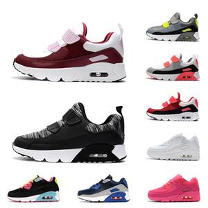 Nike Air Max 90 verkaufendes Luftkissen schnürt sich Beleg-auf Kinderkinderjungen-Mädchen-Schuh-Trainer-Turnschuhe Schwarzes weißes rosa blaues Voltkinderkinderschuhe 26-35