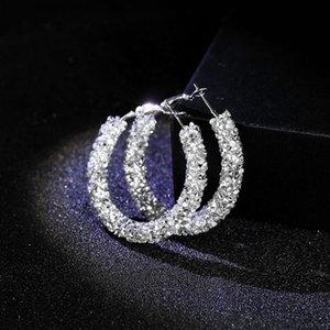 High Quality New Design Fashion Charm Austrian Crystal Hoop Earrings Geometric Round Shiny Rhinestone Big Earring Jewelry Women